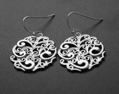 Silver Earrings Round Paisley