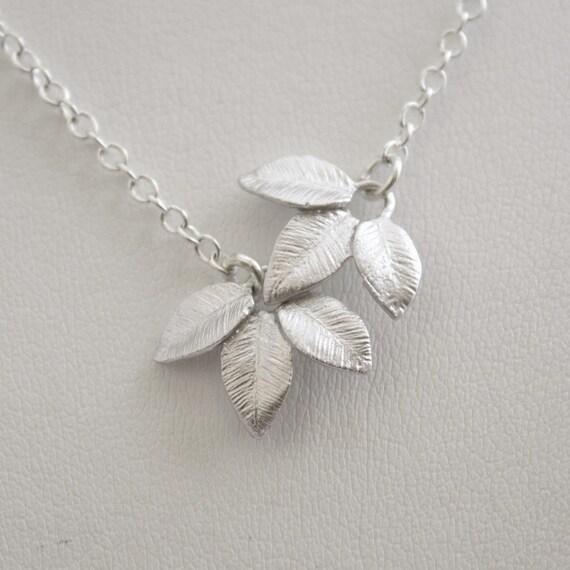 Tiny Leaf Necklace Silver Asymmetrical Leaf Pendant necklace