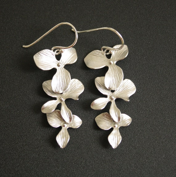 Dangle Earrings Silver Orchid Earrings Sterling Silver Ear wires Bridal Earrings