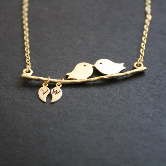 RESERVED for Daniel Love Bird Necklace Custom Initial Leaf Gold Personalized Necklace