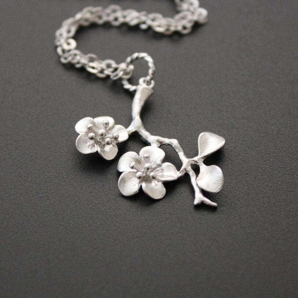 cherry blossom pendant necklace cherry blossom necklace silver