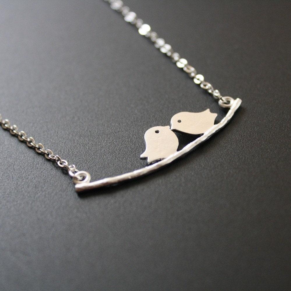 Love Silvers: Love Birds Necklace Silver By JewelryDeli On Etsy