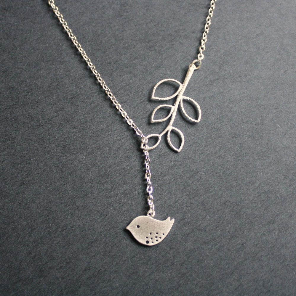 silver bird necklace bird branch lariat necklace