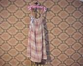 Plaid Gauze Tunic Dress Earthy Funky boho Shabby Chic OOAK handmade s m l