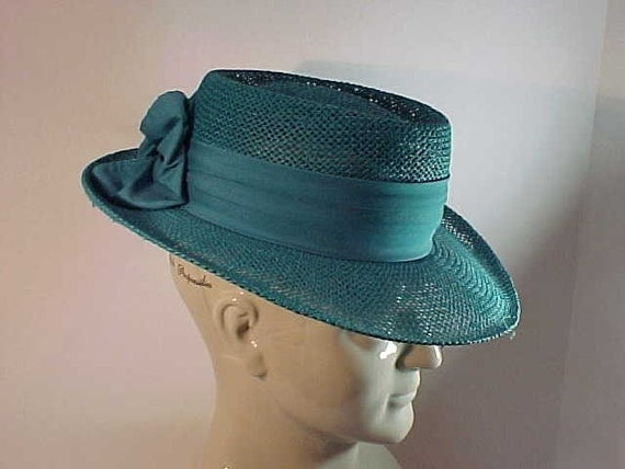 Firethorn Teal woven Straw Hat Ladies