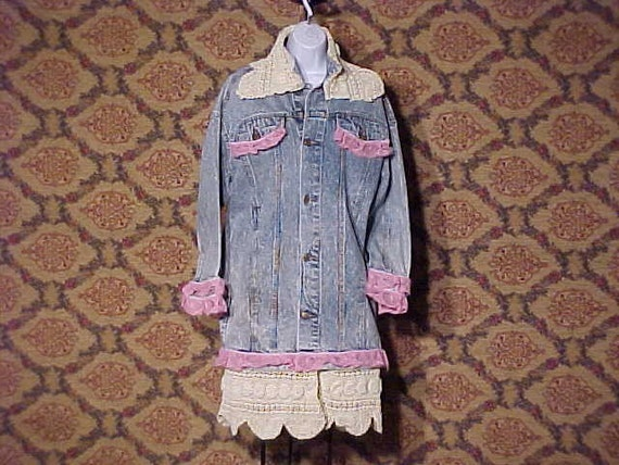 Peace Lace and Denim OOAK Jacket Dress M L