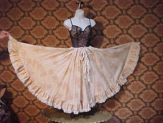 Renassiance Circle Skirt OS muted floral OOAK cotton s to plus