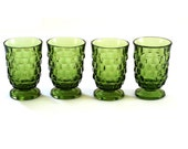 4 Vintage Indiana Whitehall JUICE Glasses -  Cube Pattern
