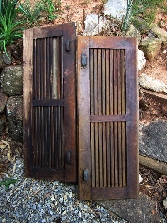 Pair Vintage Horizontal Channel Window Shutters