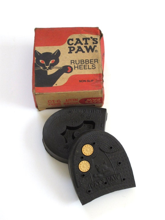 Vintage Cat's Paw Rubber Heels Size 9 10