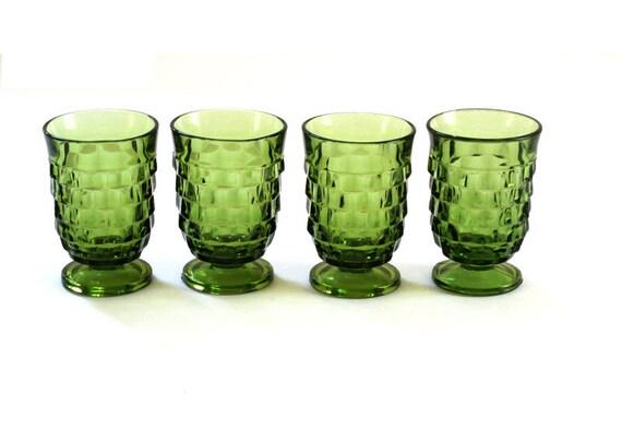 4 Vintage Indiana Whitehall JUICE Glasses -  Cube Pattern