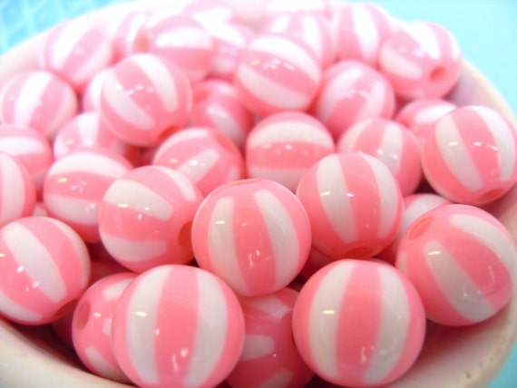 20x Pink 12mm Resin Watermelon Globe beads ..beachball