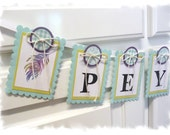 Personalized Name Banner - Baby Girl Peacock Theme - MADE TO ORDER