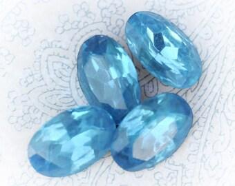 16x11mm Oval Vintage Aqua Glass Faceted Gems Cabs, Vintage Czech Glass Gems, 16x11 Ovals, (H1-R2-C4), Quantity 4