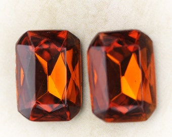 18x13mm Vintage Octagon Madeira Topaz Faceted Glass Jewels, Quantity 2