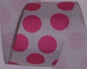 "1.5"" Silver Grey/Hot Pink Polka Dot Grosgrain Ribbon"