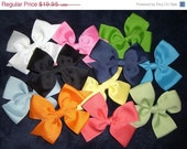 SALE Lot of 10 Girl's Classic Hair Bow 11 Ribbon COLORS, Free Ship