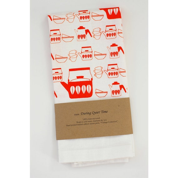 "Linen Tea Towel, ""Vintage Collection"" in Orange"