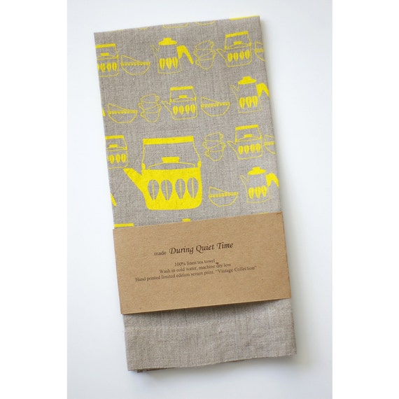"""Oatmeal Linen Tea Towel, """"Vintage Collection"""" in Yellow"""