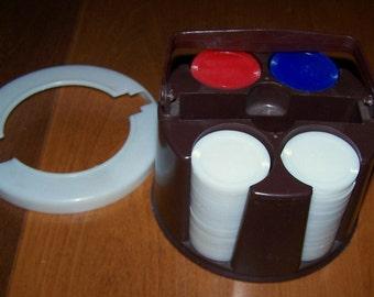 Vintage Poker Chip Holder Rack Set with Handle and Lid Plastic Astor 1970s