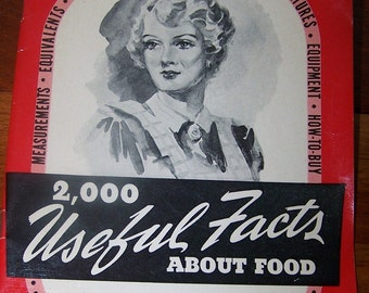 Vintage 1941 Food Booklet 2,000 Useful Facts about Food  Money Saving Hints Meaurements