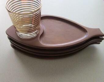 Vintage Wood Snack Sandwich Trays Fish or Leaves Mid Century Modern
