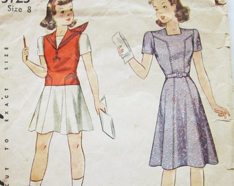 40s Simplicity 3723 Girl's Day Dress and Sailor Collar Jerkin Size 8 Bust 26