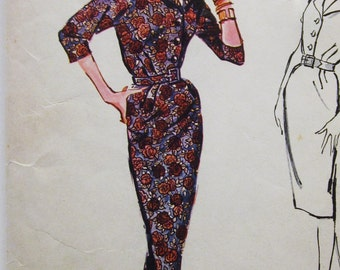 50s Advance 8762 Slim Wiggle Dress Knee Length Size 14 Bust 34