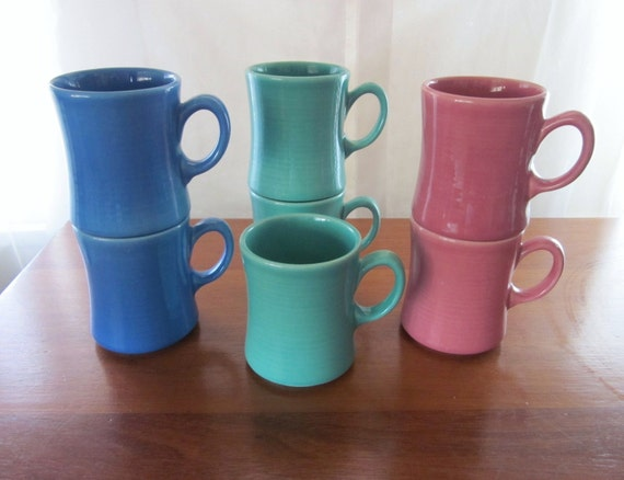 Metlox Potteries ColorStax Coffee Mugs mid 1980s Set of 7 California Pottery