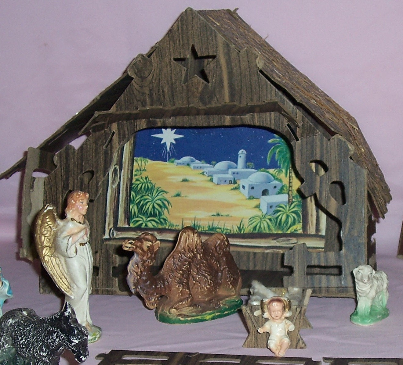Vintage chalkware nativity with cardboard foldup by slovintage