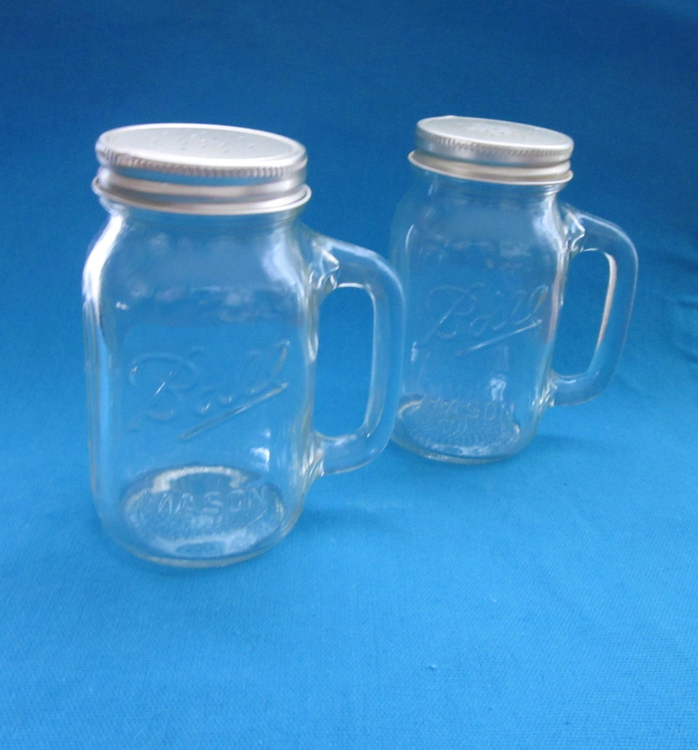 Ball Mason Clear Glass Jar Salt And Pepper Shakers