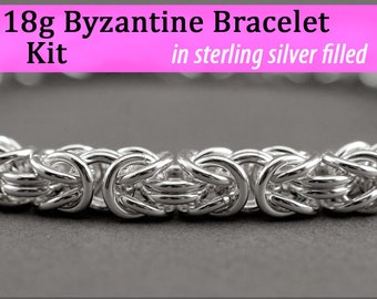 18g Byzantine Bracelet Chainmaille Kit in Silver Fill