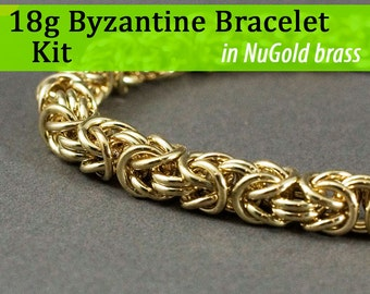 18g Byzantine Bracelet Chainmaille Kit in NuGold Brass