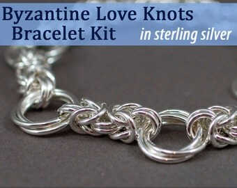 Byzantine Love Knots Bracelet Chainmaille Kit in Sterling Silver