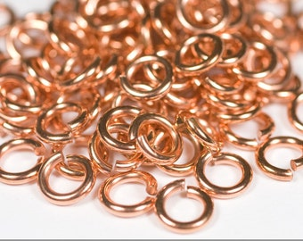 16g 3.5 mm ID 6.1 mm OD copper jump rings -- 16g3.50 open jumprings jewelry supplies findings links