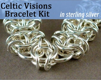 Celtic Visions Bracelet Chainmaille Kit in Sterling Silver