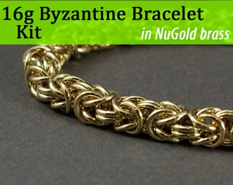 16g Byzantine Bracelet Chainmaille Kit in NuGold Brass