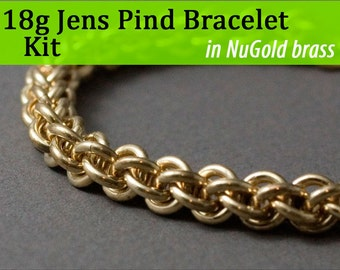 18g Jens Pind Bracelet Chainmaille Kit in NuGold Brass