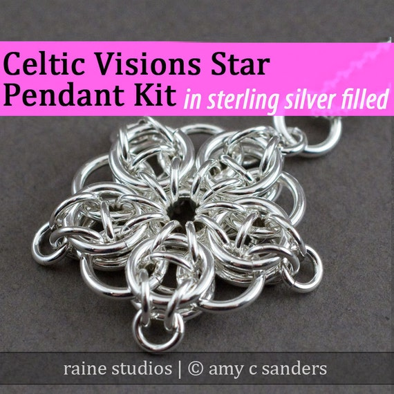 Celtic Visions Star Pendant Chainmaille Kit in Silver Fill