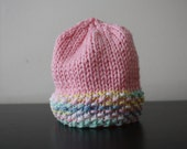Sale - Pretty In Pink Newborn Knitted Hat - READY TO SHIP