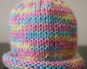 New Style - Perfectly Pastel Roll Up Newborn Knitted Hat  - READY TO SHIP