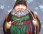 Welsh Father Christmas, Sion Corn, hand painted gourd, 9 1/2 inches tall, 7 1/2 inch diameter