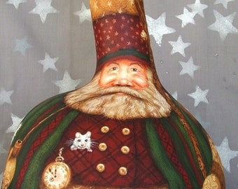 NEW LOWER PRICE Cinderella Magic, Storybook Santa, Fairy Godmother, large Christmas gourd, hand painted, 18 1/2 inches tall