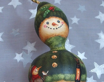 Holly, snowman gourd, hand painted, 10 1/2 inches tall
