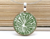 pendant necklace: autumn green dandelion on repurposed coin