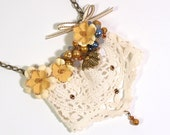 Vintage Lace Doily Bib Necklace Summer Jewelry Yellow Flowers