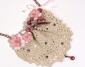 Lace Fashion Bib Necklace Vintage Doily Pink Flowers Crystals Freshwater Pearls