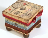 Mixed Media Trinket Box Decoupaged Jewelry Box  Keepsake Box Ring Box Vintage Woman Mink Lined