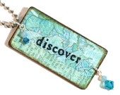 Key Chain Decoupaged Aqua Keychain Rectangle with Crystal  Discover