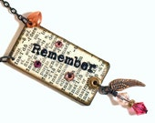 CLEARANCE Dictionary Jewelry Decoupaged Pendant Necklace Wearable Art Word Mixed Media Pink Crystal